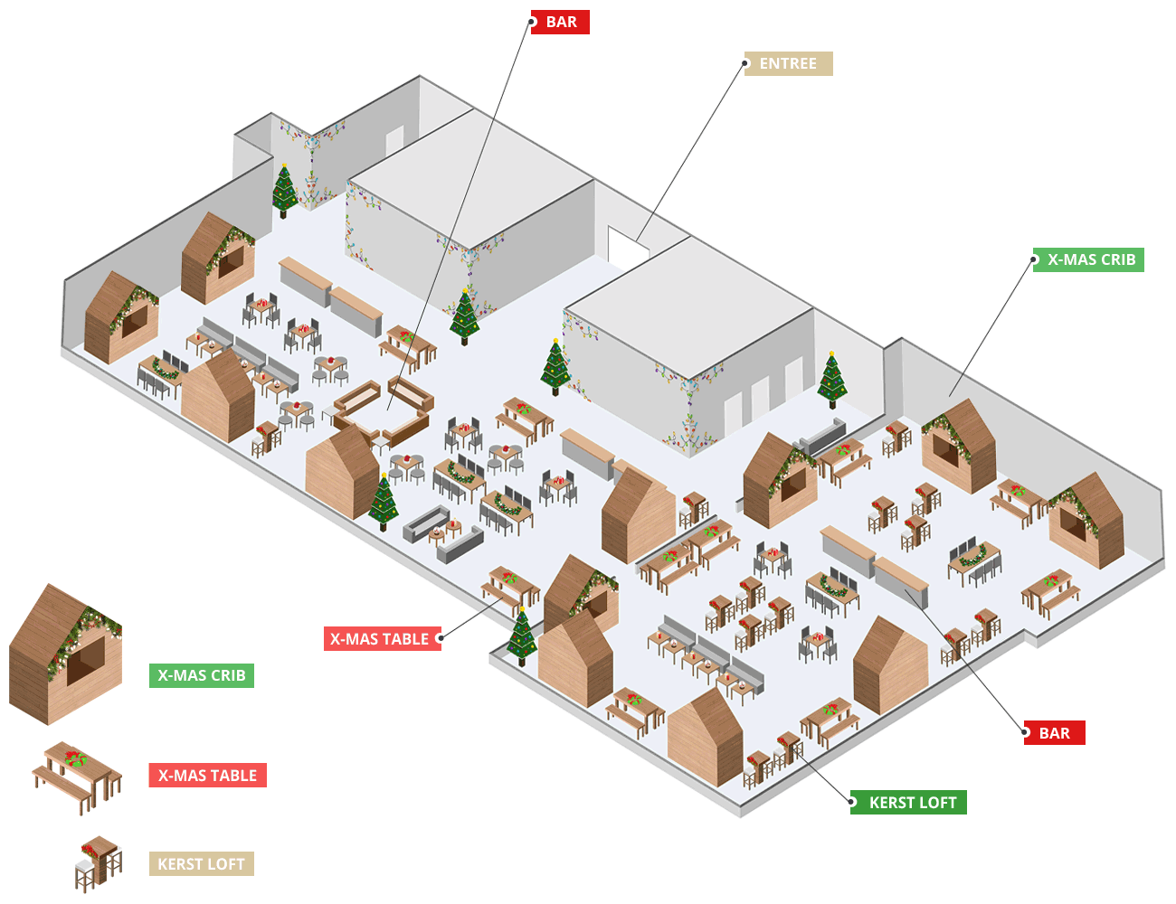 Locatieplattegrond met kerstlofts, x-mas cribs en x-mas tables